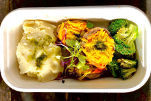 Stuffed Mushrooms, roasted broccoli and Mash