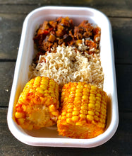 Mexican beans, brown rice and chipotle season corn