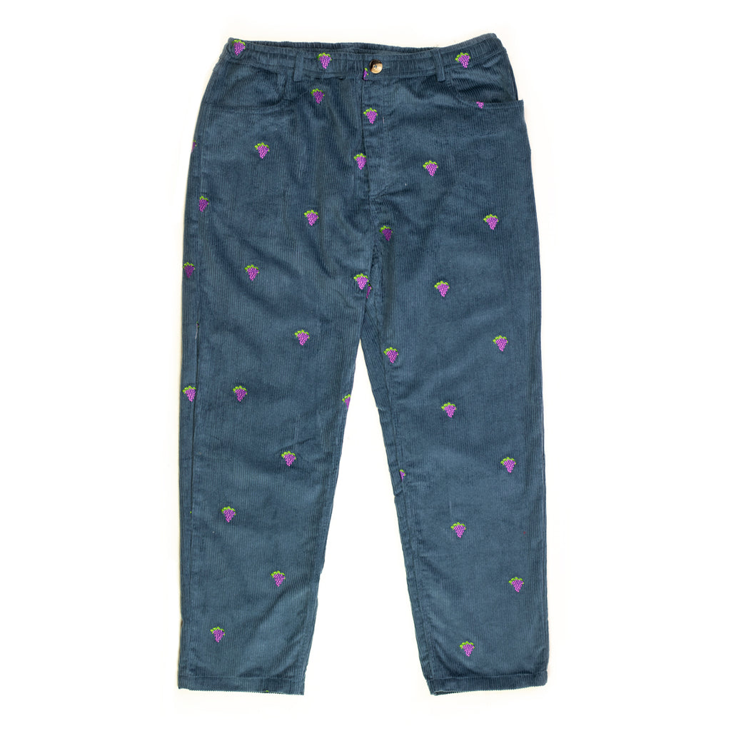 Grape Embroidery Corduroy Trousers
