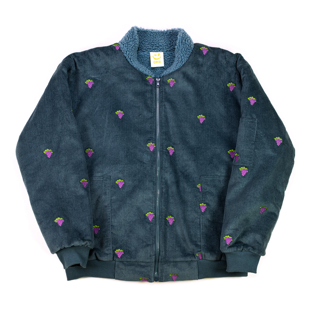 Grape Embroidery Corduroy Bomber