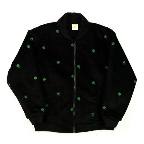 Lucky Clover Embroidery Corduroy Bomber