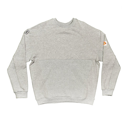 Grey Panelled Ribbing Sweater