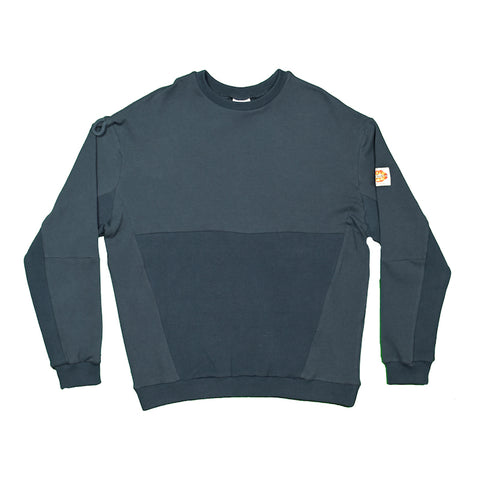 Navy Panelled Ribbing Sweater