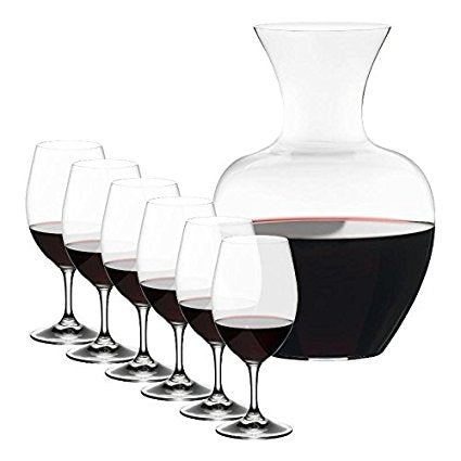 Riedel Ouverture Magnum Glasses + Apple Decanter, Clear, Set of 7