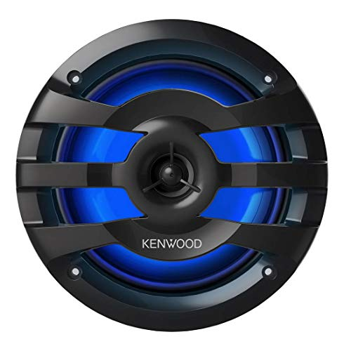 "KENWOOD KFC-1673MRBL 6.75"" 2-Way Marine Speaker(Black) with RGB Lighting, Remote Control Included, 260 Max Power"