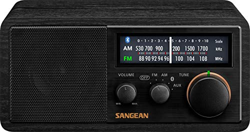 SANGEAN SG-118 AM/FM/Bluetooth Wooden Cabinet Radio with USB Phone Charging