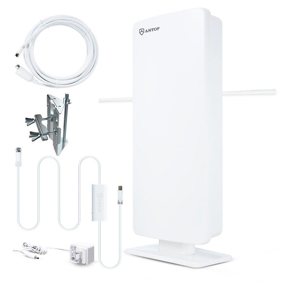 ANTOP AT-400BV Flat-Panel Smartpass Amplified Outdoor/Indoor 4k/HDTV Antenna with Built-In 4G LTE Filter (White)