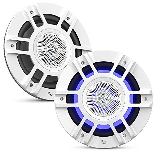 "Infinity Mobile Kappa Marine 8"" 3 Way Premium Marine Speaker RGB Lighting - White Convertible Design/Component mounting"