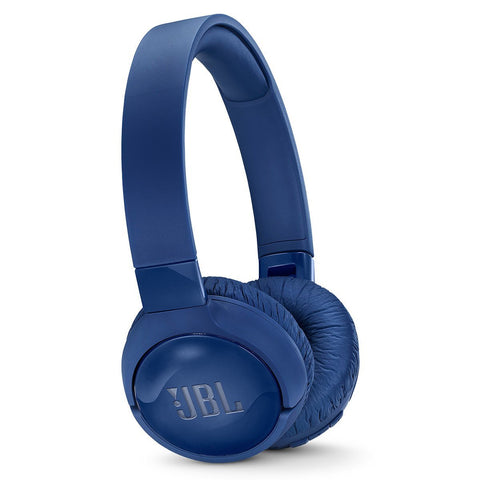 JBL T600BTNC Wireless On-Ear Active Noise-Cancelling Headphones with Built-In Remote and Microphone (Blue)