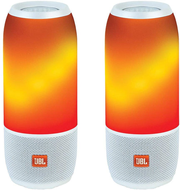 TWO Pack - JBL Pulse 3 Portable Bluetooth Speakers - Pair (White)