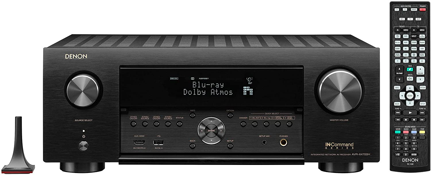 Denon AVR-X4700H 9.2 Channel 8K Network AV Receiver with 3D Audio, Voice Control & HEOS Built-in
