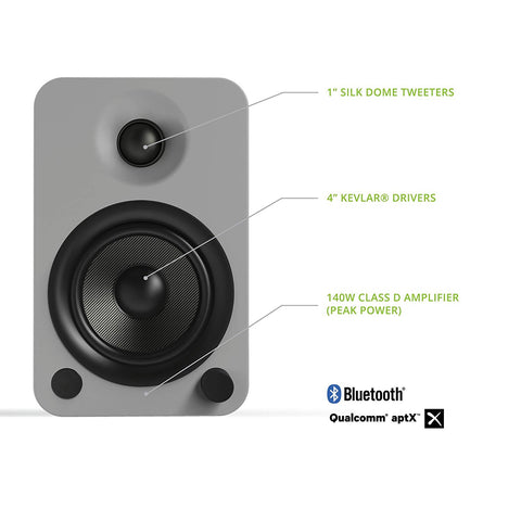 Kanto YU4 Powered Speakers with Bluetooth and Phono Preamp - Grey