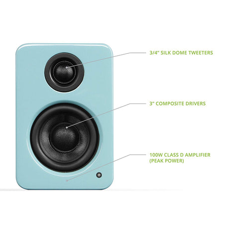 "Kanto YU2 3"" 2-Way Powered Desktop Speakers (Pair) – Gloss Teal"