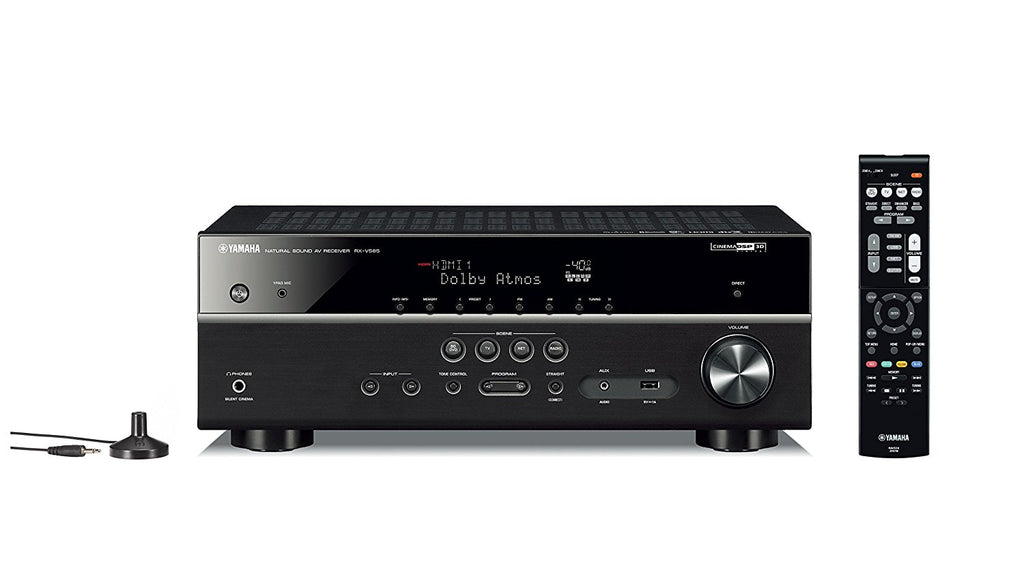 Yamaha RX-V585BL 7.2-Channel 4K Ultra HD AV Receiver with Wi-Fi Bluetooth and MusicCast Works with Alexa