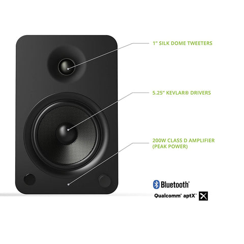 Kanto YU6 Powered Speakers with Bluetooth and Phono Preamp, - Matte Black
