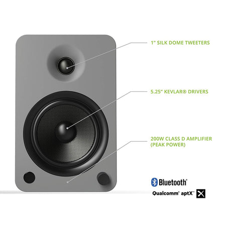 Kanto YU6 Powered Speakers with Bluetooth and Phono Preamp - Matte Grey