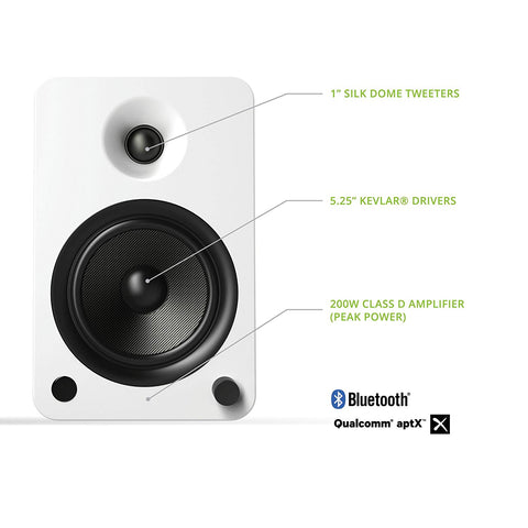 Kanto YU6 Powered Speakers with Bluetooth and Phono Preamp, - Matte White