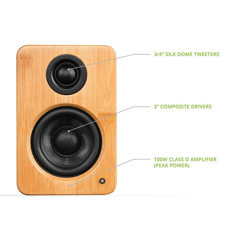 Kanto YU2 Powered Desktop Speakers – Bamboo