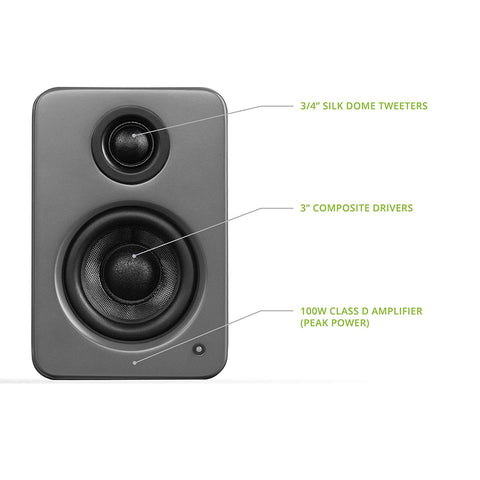 "Kanto YU2 Powered Desktop Speakers - 3"" Composite Driver 3/4"" Silk Dome Tweeter - Matte Grey"