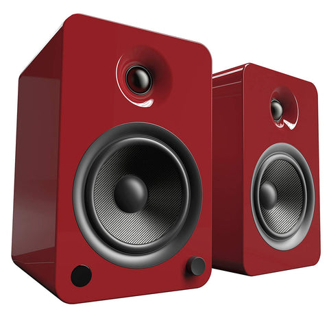 Kanto YU6 Powered Speakers with Bluetooth and Phono Preamp, Gloss Red