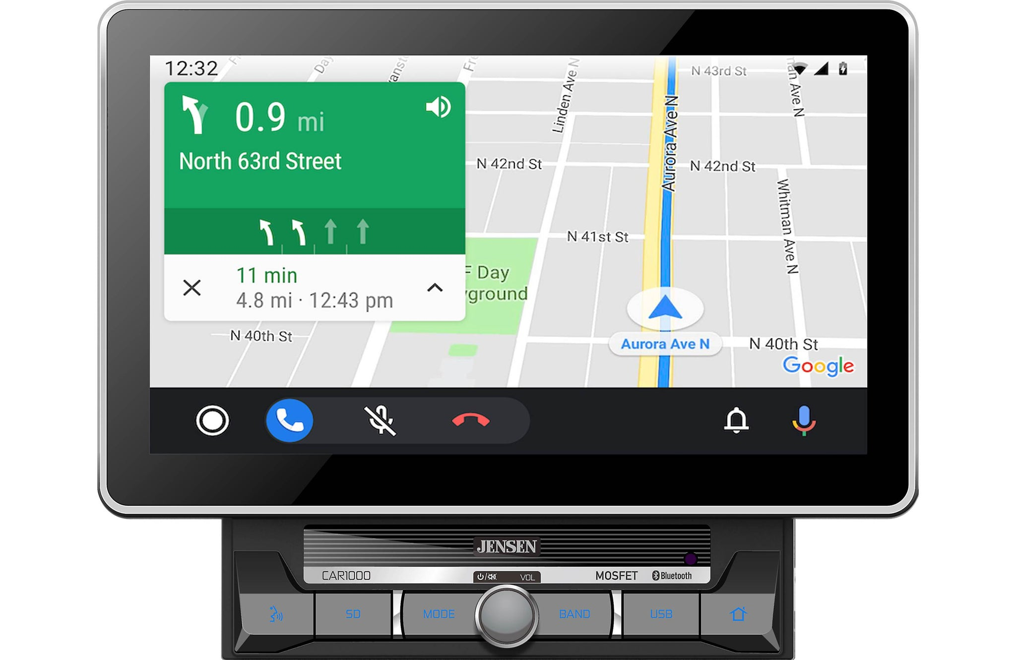 "Jensen CAR1000 10.1"" Touchscreen Multimedia Receiver with Apple CarPlay & Android Auto l Built-in Bluetooth"