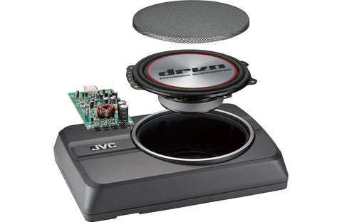 "JVC CW-DRA8 Powered Subwoofer 150 watts and an 8"" sub"