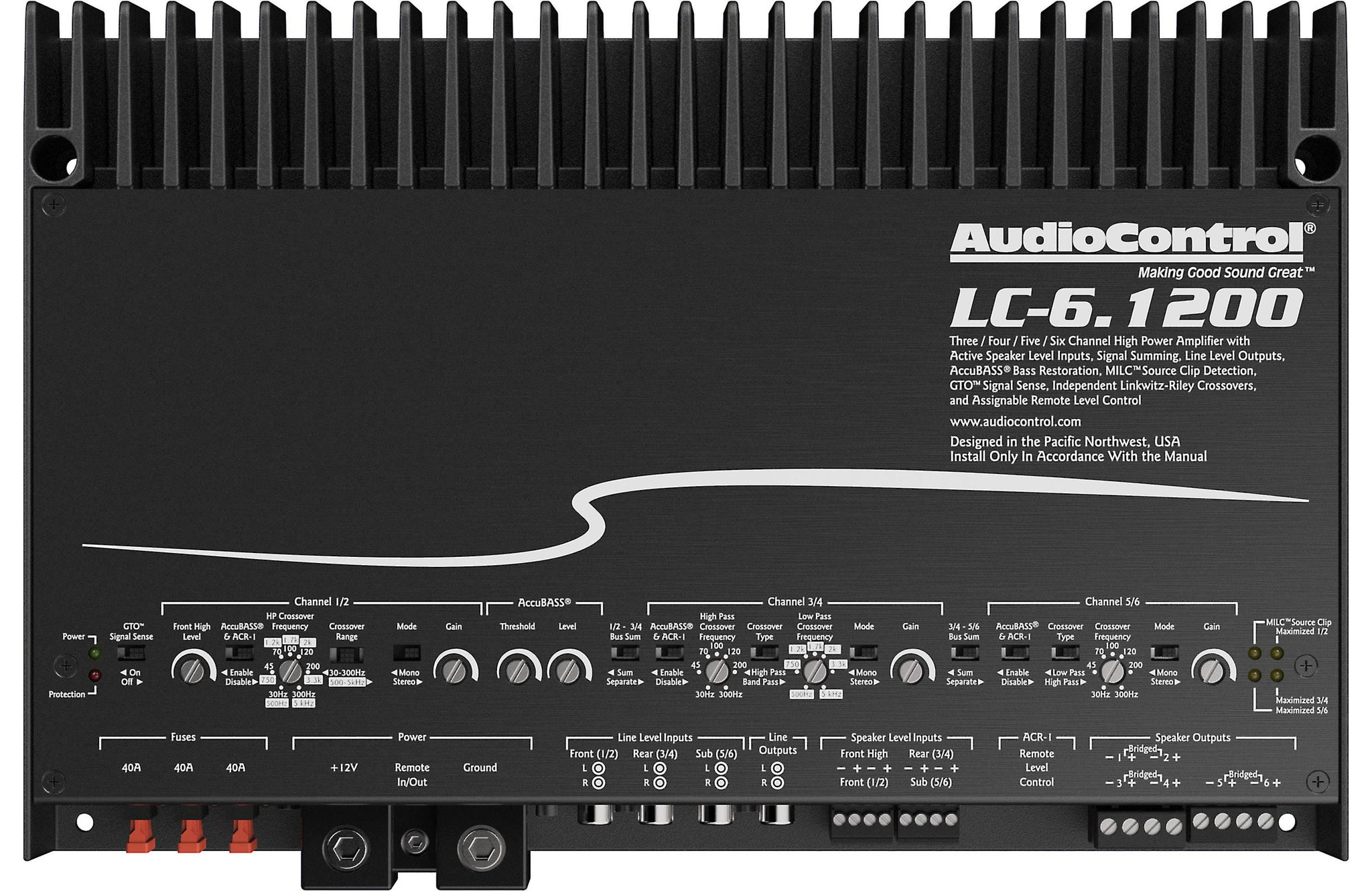 AudioControl LC-6.1200 6-channel Class D Car Stereo Amplifier