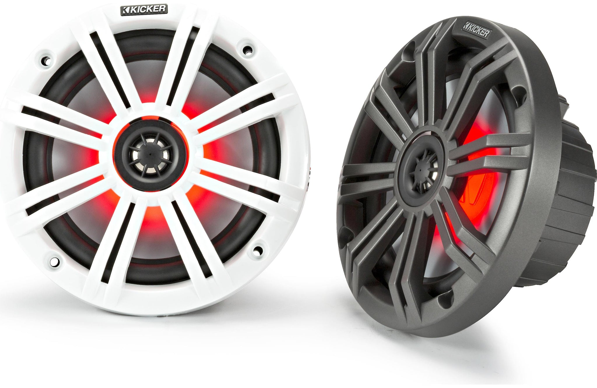 "Kicker 45KM654L 6-1/2"" 2-Way Marine Speakers With LED Lighting"