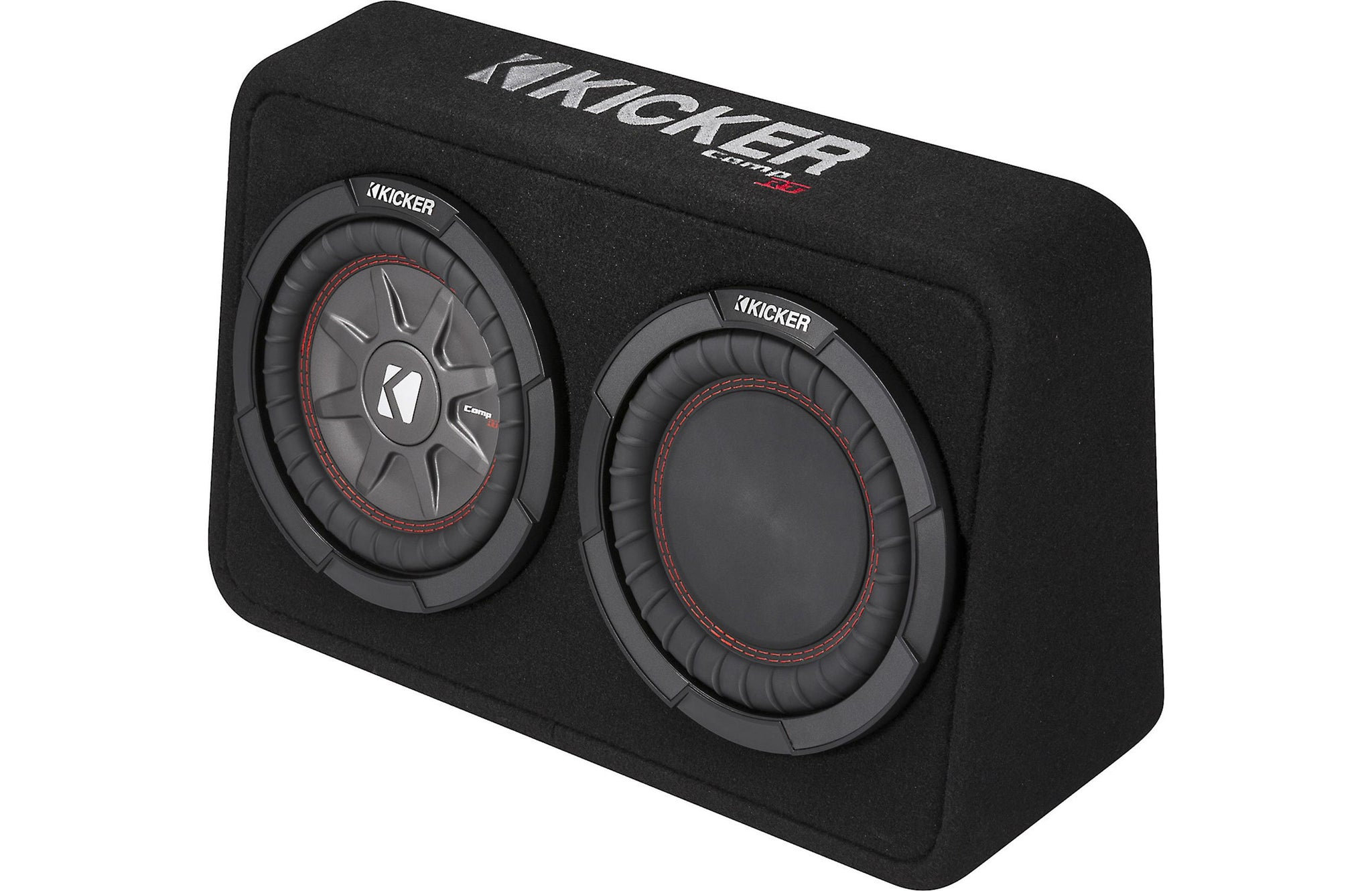 "Kicker CompRT 43TCWRT84 Sealed truck enclosure with one 8"" CompRT subwoofer and passive radiator"