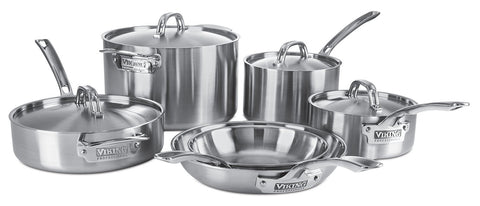 Viking VIK45151S10S 5-Ply 4515-1S10S 10 Piece Cookware Set, Silver