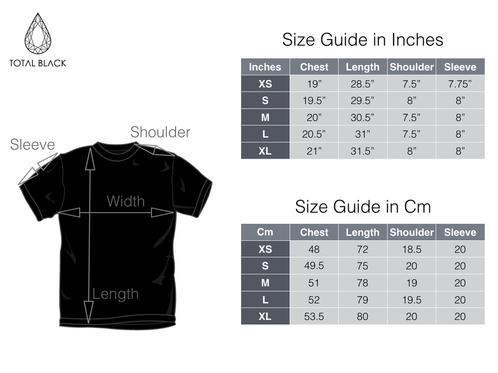 TOTAL BLACK - SIZE GUIDE