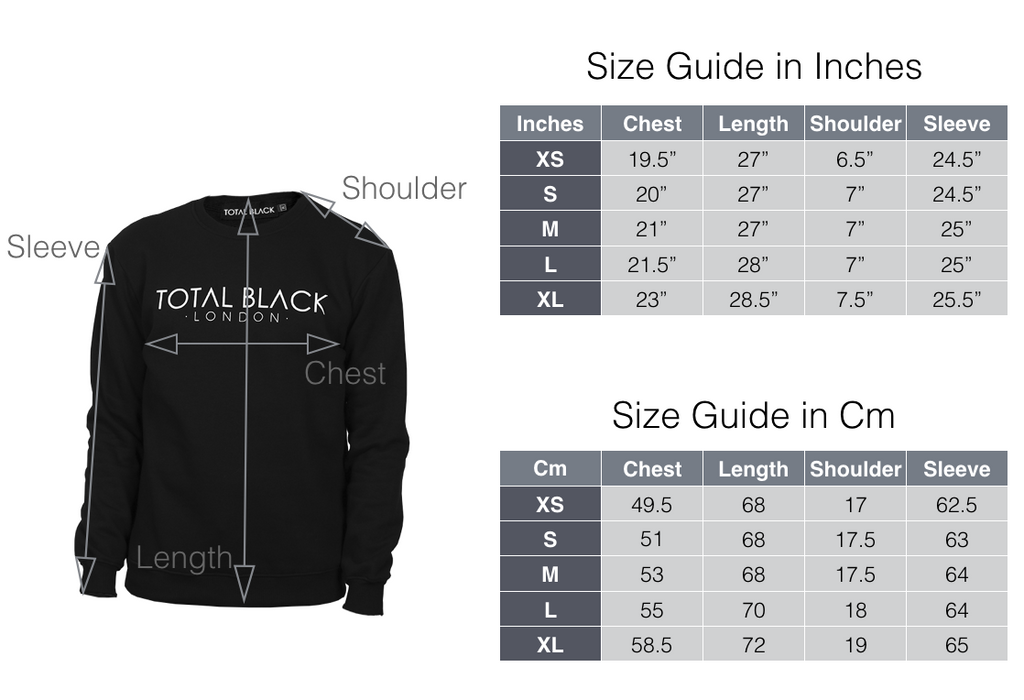 Size Guide Sweatshirt - TOTAL BLACK