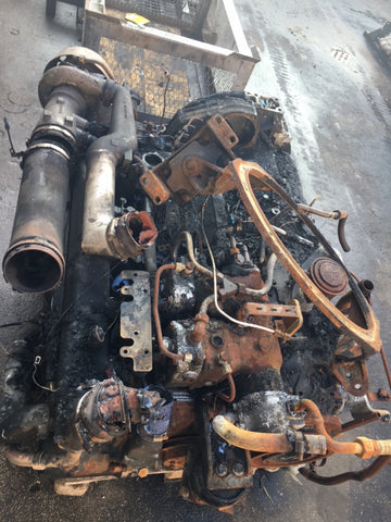 MAN D2866 LUH24 Engine (386962008612D1) fire damage, complete without injection pump used in Neoplan Starliner EURO 2 (400 HP) Brandschaden