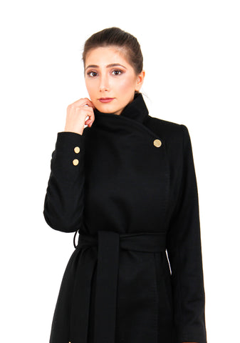 Coat Black Modest Nesci