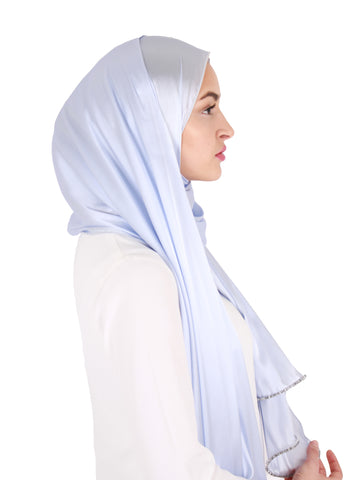 Larsen B global warming iceshelft blog nesci modest woman modest fashion recycle recycling 100% silk ice blue