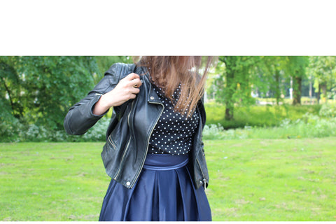 How to wear the navy sola skirt tips blog modest woman modest fashion long skirt long modest skirt leather jacket nesci