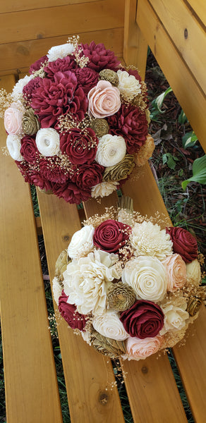 Burgundy and Gold Dahlia Bouquet
