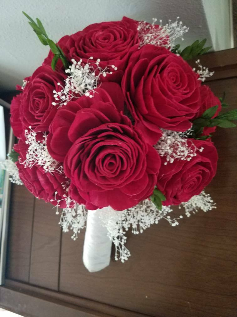 Red Rose Wooden Flower Bride Bouquet