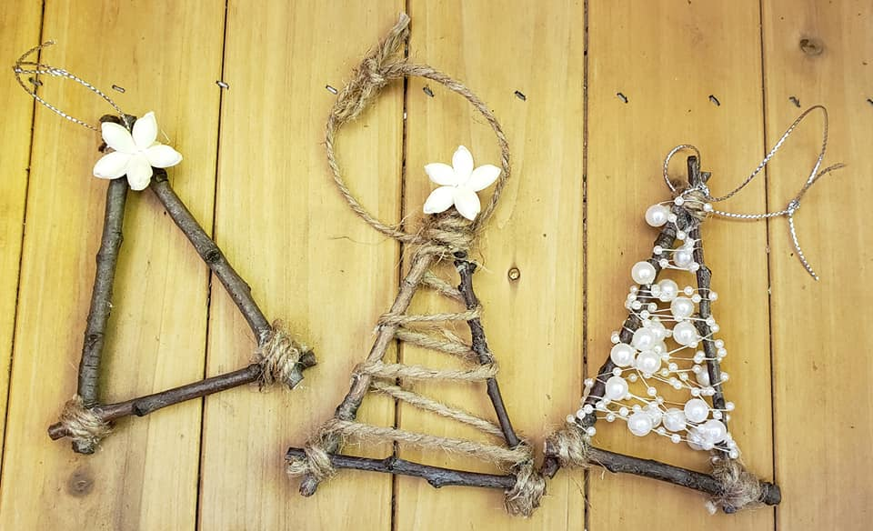 Twig Tree Ornament Trio
