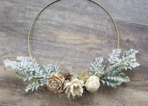 Gold Seasonal Sparkly Hoop Wreath