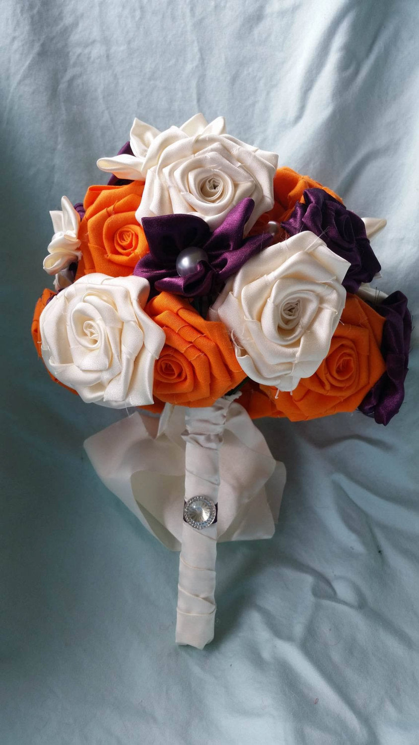 Plum and Orange Satin Star Bouquet