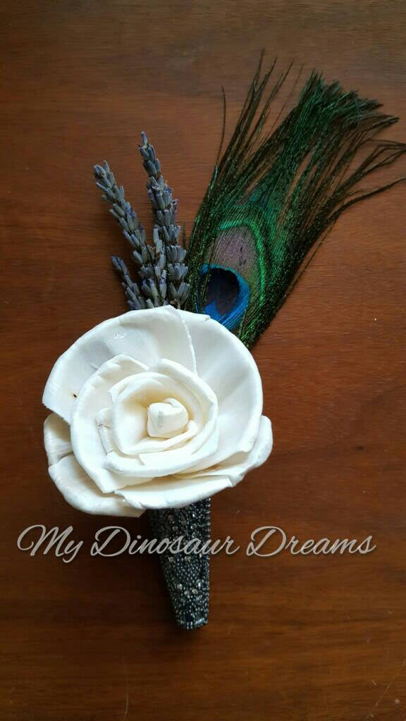 Pretty as a Peacock Boutonniere