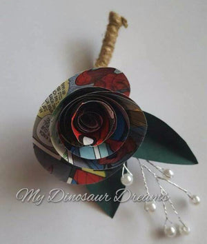 Comic Book Rose Boutonniere