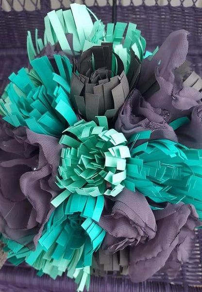 Modern Paper and Fabric Mum Bouquet