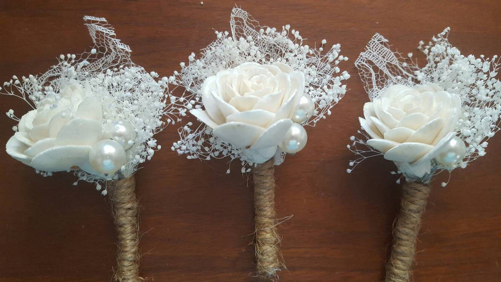 Stardust Lace Wooden Rose Boutonniere