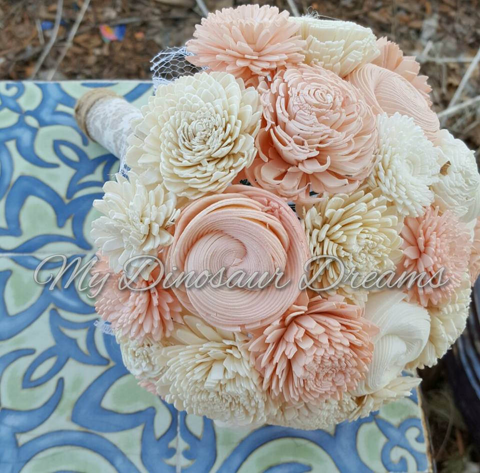 Blush and Ivory Sola Flower Bouquet – My Dinosaur Dreams