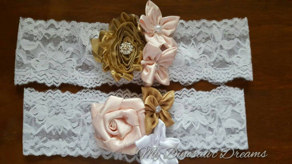 Shabby Chic Fabric Flower Garter Set