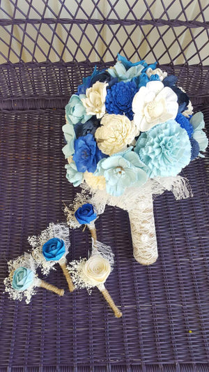 Little Rose Blue Boutonniere