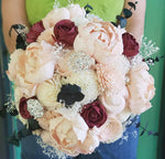 Peony and Rose Blush and Burgundy Bouquet