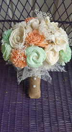 Mint and Peach Vintage Bouquet